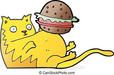 cartoon fat cat with burger