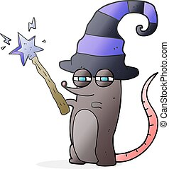 cartoon magic witch mouse - freehand drawn cartoon magic...