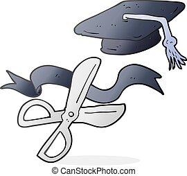 cartoon scissors cutting ribbon at graduation