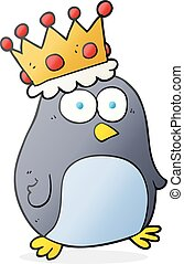 cartoon emperor penguin - freehand drawn cartoon emperor...