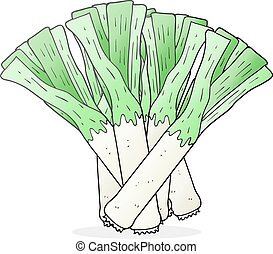 cartoon leeks - freehand drawn cartoon leeks