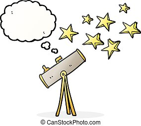 thought bubble cartoon telescope and stars