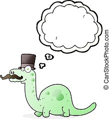 thought bubble cartoon posh dinosaur - freehand drawn...
