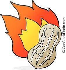 cartoon cooking peanut - freehand drawn cartoon cooking...