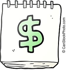 cartoon note pad with dollar symbol - freehand drawn cartoon...