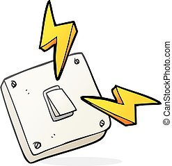 cartoon sparking electric light switch - freehand drawn...