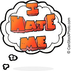 I hate me thought bubble cartoon symbol - I hate me freehand...