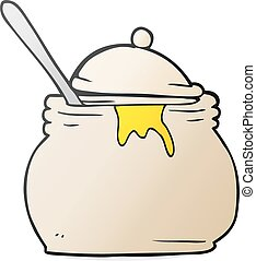 cartoon mustard pot - freehand drawn cartoon mustard pot