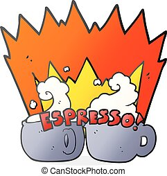 cartoon espresso - freehand drawn cartoon espresso