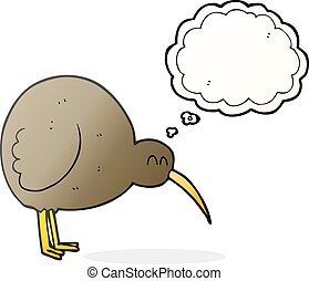 thought bubble cartoon kiwi bird - freehand drawn thought...