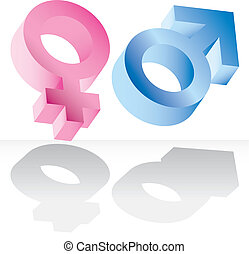 Male and female signs isolated
