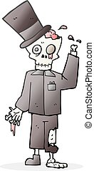cartoon posh zombie - freehand drawn cartoon posh zombie