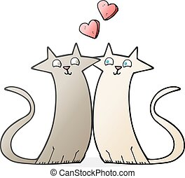 cartoon cats in love