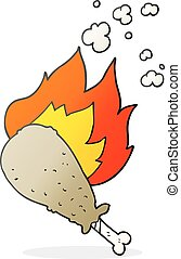cartoon cooked chicken leg - freehand drawn cartoon cooked...