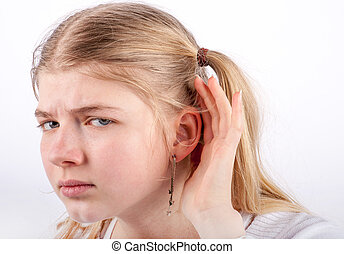 sad girl cant hear - Young girl cant hear you - she cupping...