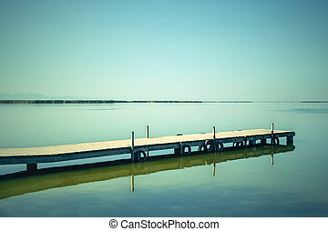 Calm water of the Albufera lagoon, Spain