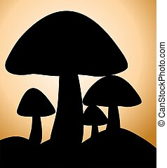 Mushrooms - Illustration of silhouette of mushroom in...