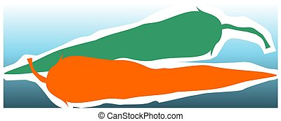 Chilly - Illustration of silhouette of green and red...