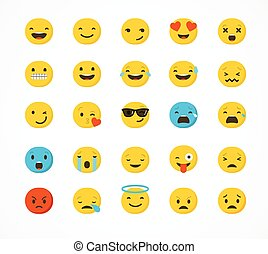 Set of emoticons, emoji isolated on white background, flat illustration