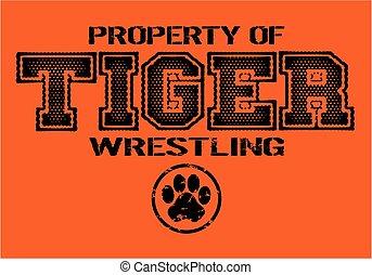 tiger wrestling - distressed tiger wrestling team design for...