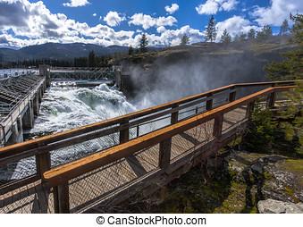 Post Falls Dam overlook. - The scenic overlook and walkway...