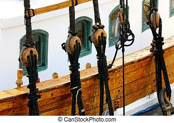 ropes and pulleys on sailing ship