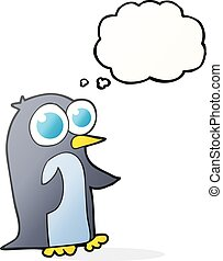 thought bubble cartoon penguin with big eyes - freehand...