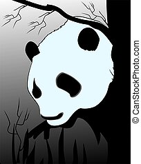 Giant panda - Illustration of a silhouette of a giant panda...