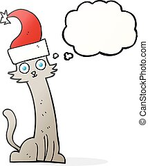 thought bubble cartoon cat in christmas hat - freehand drawn...