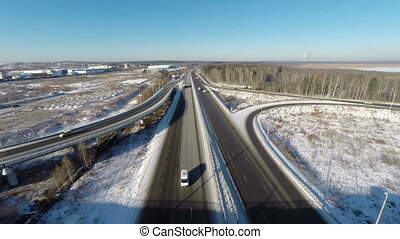Aerial view road junction at winter - Aerial view road...