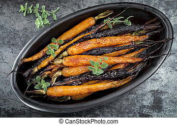 Roasted Baby Carrots Horizontal Overhead View