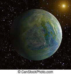 one side shadow of earth planet on sun background - one side...