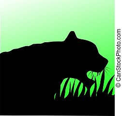 Tiger - Illustration of a tiger head in green background