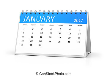 blue table calendar 2017 january - A blue table calendar for...