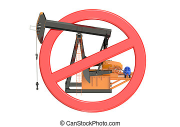 oil pumpjack with forbidden sign isolated on white...