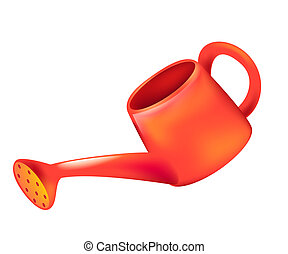 red watering can for household use.
