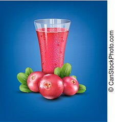 Vector glass cup with juice of cranberries on a blue background