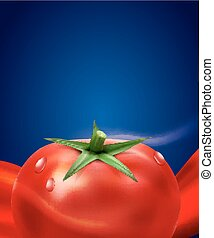vector background with splashes, waves of red tomato juice and tomato. isolated on blue background