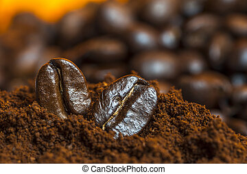 Coffee beans and ground coffee.