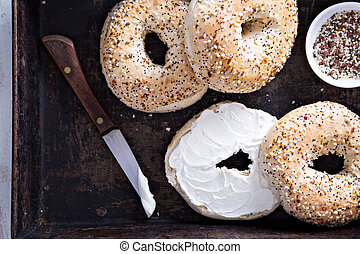 Everything bagels with cream cheese - Everything bagels with...