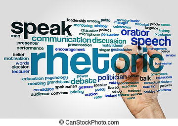 Rhetoric word cloud concept
