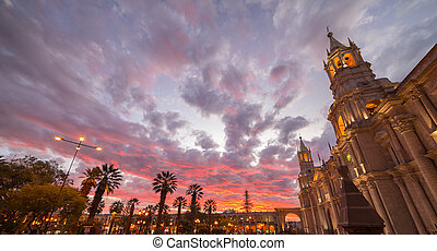 Cathedral of Arequipa, Peru, with stunning sky at dusk -...