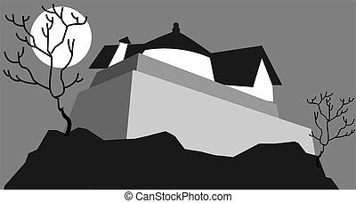 fort - Illustration of fort in a moonlight