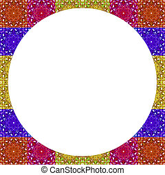 White Frame with Multicolor Pattern Border - White circle...
