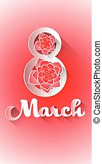 March 8 International Women Day Greeting Card Vector...
