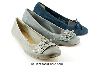 gray and blue ballet flat shoes