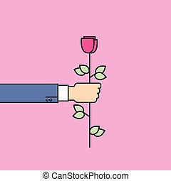 Business Man Hand Hold Rose Flower