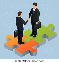 Business and finance concept. Handshake isometric. Partnership flat 3d isometric illustration Two businessmen shaking hands Business People Corporate Success Concept Concept of business and agreement
