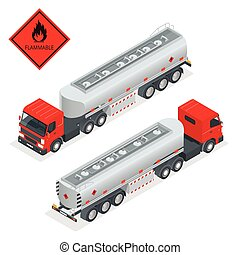 Fuel gas tanker truck isometric illustration Truck with fuel...