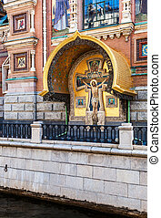 Facade of the Church of the Savior on Spilled Blood in St. Petersburg, Russia